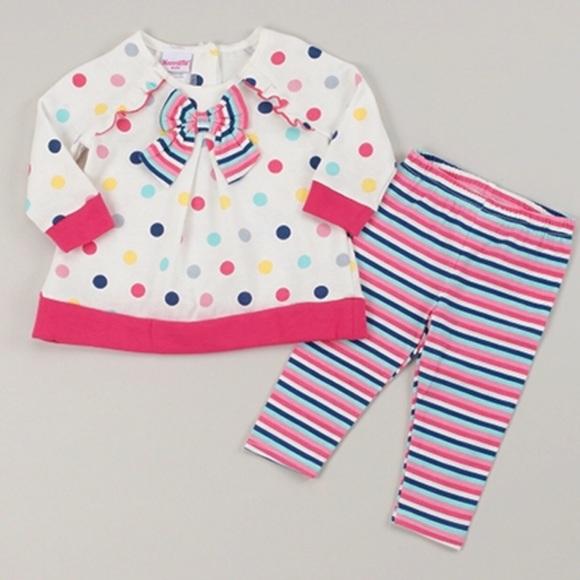 Nannette Dot Print Top & Stripe Leggings Set